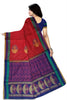 Soft Silk Saree Red & Pink color with Floral Design Back View from Fasnic