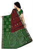 Fasnic's Soft Silk Saree - Dark Red & Green- Self Design Saree . Unstitched blouse attached