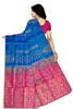 Soft Silk Saree Blue & Pink color with Floral Design Back View Fasnic
