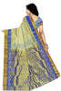 Back view of Fasnic's Sandal white light wight silk saree with self design. Unstitched blouse attached