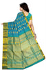 Kanchipuram Silk Saree - Dodger Blue & Teal Blue - Mango Design