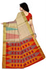 Jute Soft Silk Saree Half White & Red color with Temple & Box Design Back View Fasnic