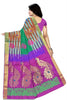 Pure Soft Silk Saree Sea Green & Purple color with Peacock Design Back View from Fasnic