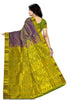 Kanchipuram Silk Saree - Purple & Green - Floral Design