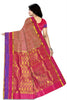 Back view of Fasnic's pink light wight silk saree with self design. Unstitched blouse attached