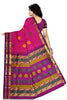 Kanchipuram Silk Saree - Deep Pink & Purple - Floral Design