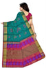 Soft Silk Saree Teal Blue color with Floral Design & Mango Design Back View from Fasnic