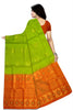Fasnic.com Borderless Pure Soft Silk Saree - Parrot Green & Orange - Bird Design. Unstitched blouse attached