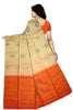 Fasnic's Pure Soft Silk Saree - Wheat & Orange Red - Self Design Saree . Unstitched blouse attached