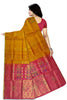 Soft Silk Saree Orange & Violet color with Floral Design Back View Fasnic