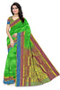 Front view of Fasnic's Green Light wight silk saree with Floral design. Unstitched blouse attached