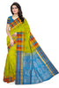 Fasnic.com Pure Soft Silk Saree - Parrot Green & Sky Blue - Peacock Design. Unstitched blouse attached