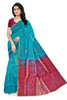 Soft Silk Saree Cyan & Violet color with Floral Design Front View Fasnic