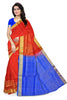 Soft Silk Saree Red & Blue Floral color with Design Front View Fasnic
