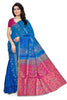 Soft Silk Saree Blue & Pink color with Floral Design Front View Fasnic