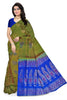 Soft Silk Saree Olive Green & Blue color with Floral Design Front View from Fasnic