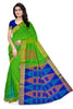 Jute Soft Silk Saree Green & Blue color with Temple & Box Design Front View Fasnic