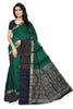 Fasnic's Soft Silk Saree - Green & Dark Blue - Self Design Saree . Unstitched blouse attached