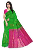 Soft Silk Saree Green & Pink color with Floral Design Front View Fasnic