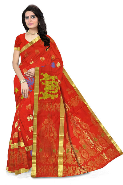 Folded view of Fasnic's Red Designer silk saree with peacock and doll design. Unstitched blouse attached
