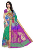 Pure Soft Silk Saree Sea Green & Purple color with Peacock Design Front View from Fasnic