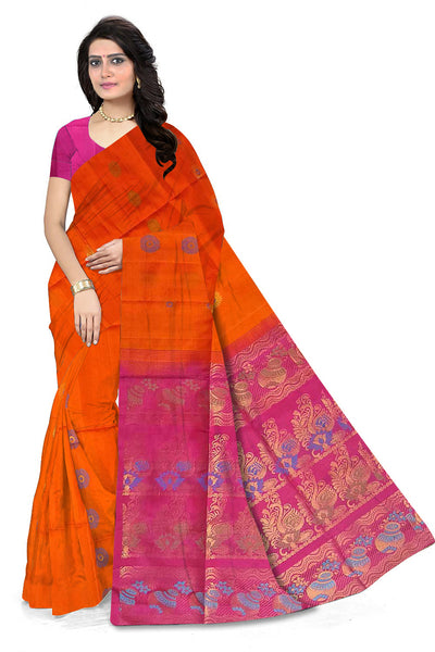 Pure Soft Silk Saree Orange & Pink color with Peacock Design Front View from Fasnic