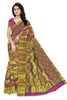 Front view of Fasnic's Golden kanjivaram silk saree with floral design. Unstitched blouse attached
