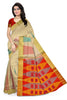 Jute Soft Silk Saree Half White & Red color with Temple & Box Design Front View Fasnic