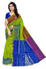 Soft Silk Saree Green Yellow & Blue color with Floral Design Front View Fasnic