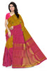 Front view of Fasnic's yellow and pink kanjivaram silk borderless saree with doll design. Unstitched blouse attached