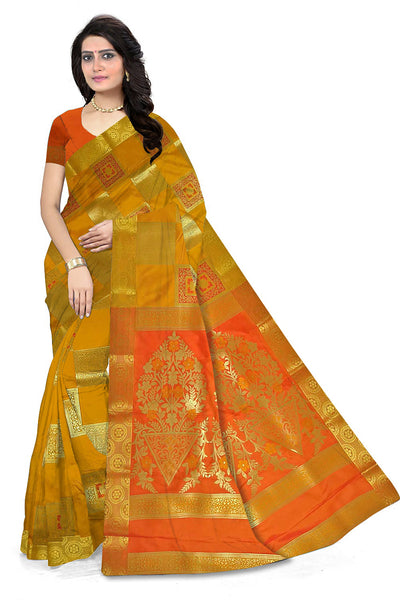 Silk Saree Yellow & Orange color with Checked & Floral Design Front View Fasnic