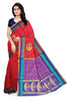 Soft Silk Saree Red & Pink color with Floral Design Front View from Fasnic