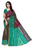 Soft Silk Saree Dark Brown & Cyan color with Floral Design Front View Fasnic