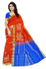 Soft Silk Saree Orange & Blue color with Animal & Self Design Front View Fasnic