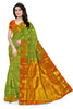 Front view of Fasnic's green and orange light wight silk saree with Floral design. Unstitched blouse attached