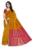 Soft Silk Saree Orange & Violet color with Floral Design Front View Fasnic