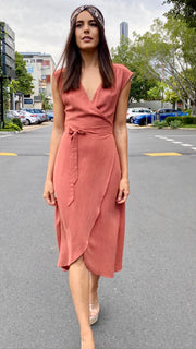 Classic Linen Dress Terracotta - Alexa Nice