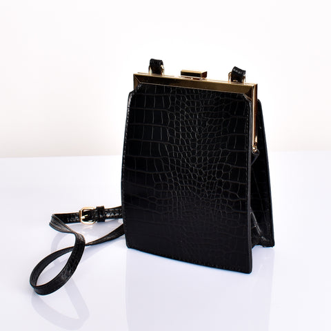 Metal Frame Croc  Bag (Black) - Alexa Nice