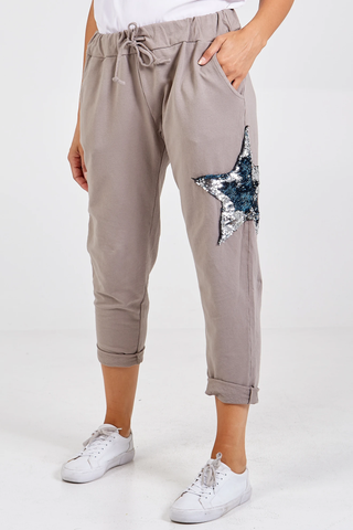 Sequin Star Joggers - Gray - Alexa Nice