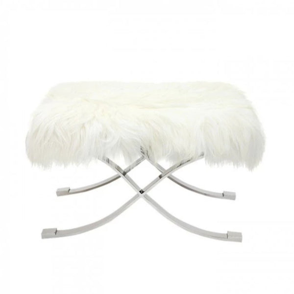Fur Ottoman in Ivory