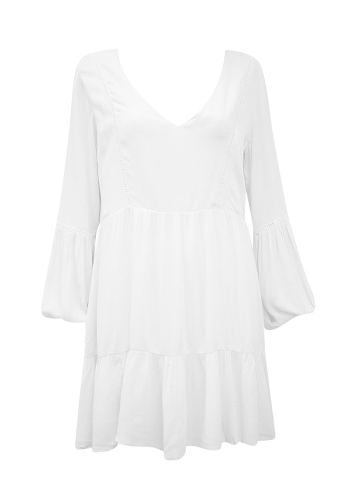 White Woven Dress