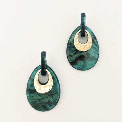 Oval Cut Out Resin Metal Detail Earrings - Alexa Nice
