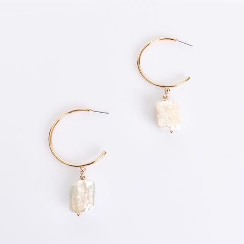 Fresh Water Pearl Drop Hoop Earrings (Gold) - Alexa Nice
