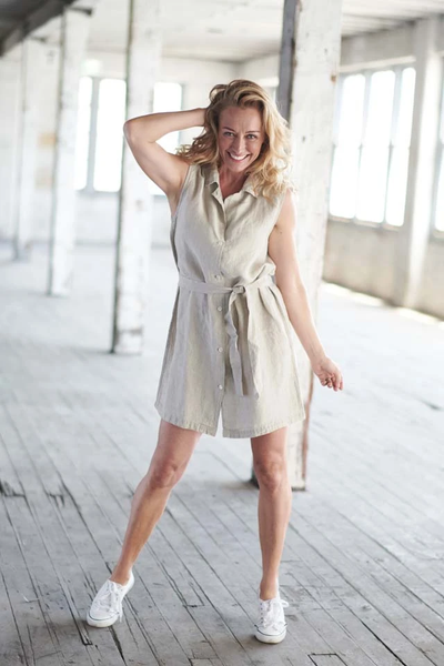 The Sleeveless Linen Shirt Dress - Natural - Alexa Nice
