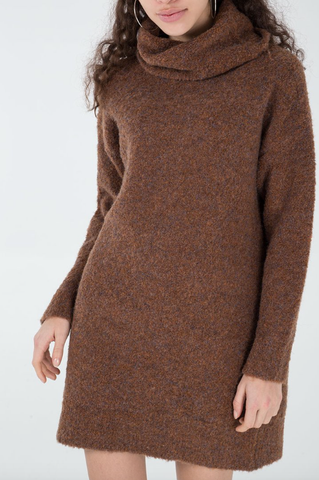 Cowl Neck Jumper Dress Chocolate - Alexa Nice