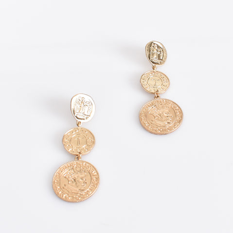 Tri Coin Drop Earrings