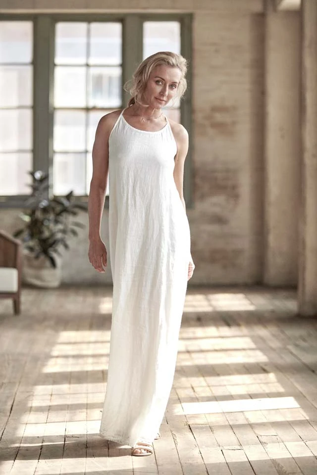 The Linen Maxi Dress - White - Alexa Nice