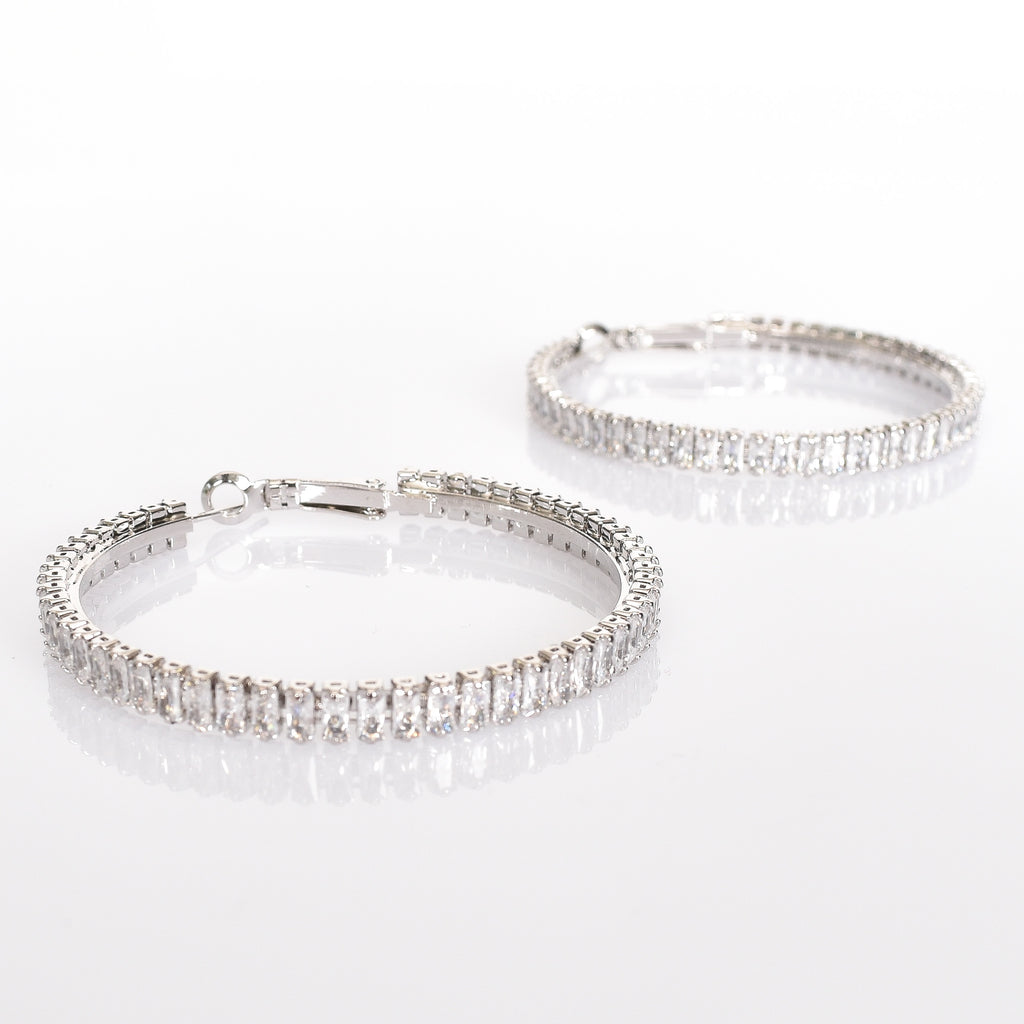 Baguette Diamante Hoop Earrings (Silver) - Alexa Nice