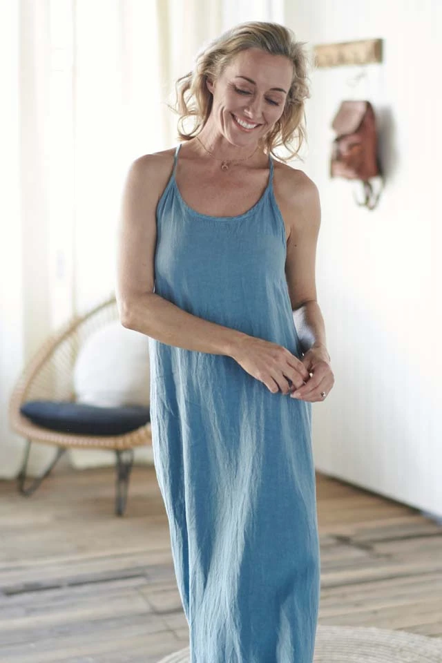 The Linen Maxi Dress - Blue Azure - Alexa Nice