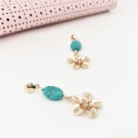 Daisy Drop Stone Mix Mid Earrings - Alexa Nice